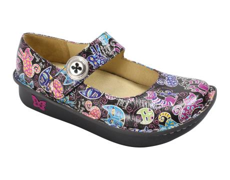 Multi Painterly Leather Belle Casual shoes by Alegria, made from Leather
